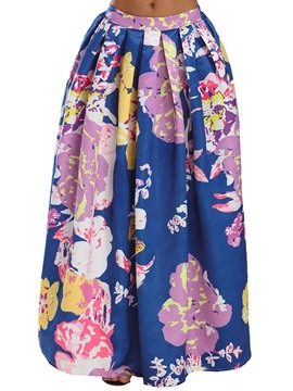 Ericdress Floral Pleated High-Waist Maxi Skirt