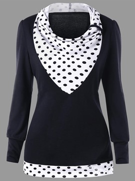 Ericdress Print Patchwork Polka Dots Heap Collar Long Sleeve Womens T Shirt