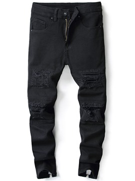 ericdress llano recto negro mens ripped jeans
