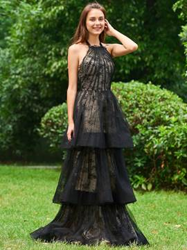 Ericdress A Line Halter Lace Layered Evening Dress