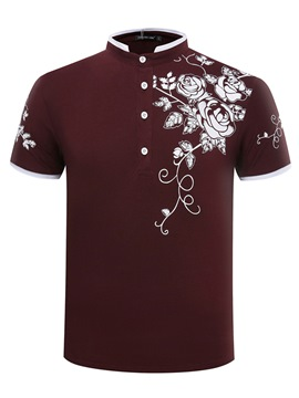 Ericdress Floral Printed Plain Short Sleeve Men Polo T Shirts