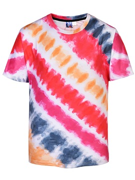 Ericdress Striped Color Block Printed Mens Short Sleeve T Shirts