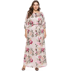 Ericdress Pink Floral Inelastic Belt Maxi Dress