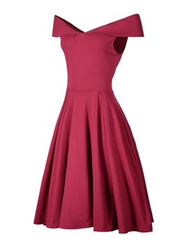 Ericdress Trumpet Pleated Off-The-Shoulder A-Line Dress