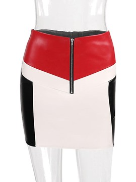 Ericdress Color Block Bodycon Women's Mini Skirt