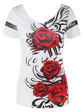 Ericdress Patchwork Print Lace Short Sleeve Womens T Shirt