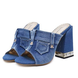 ericdress denim slip-on sandalias de tacón grueso