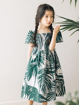 Ericdress Plant Printed Square Neck Girl's Summer Dress