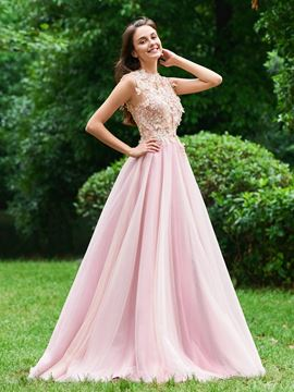 Ericdress A Line Flower Applique Long Prom Dress