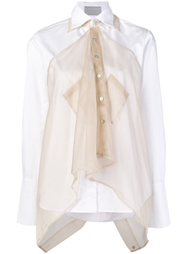 Ericdress Color Block Mesh Button Lapel Womens Shirt