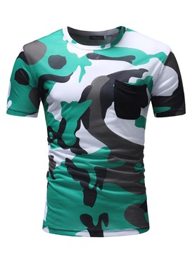 Ericdress Camouflage Pocket Scoop Mens Casual T Shirts