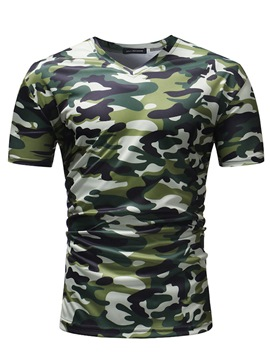 ericdress camouflage v-cou droites hommes t-shirts occasionnels