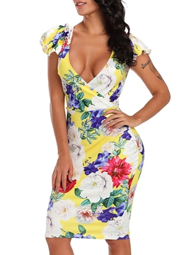 Ericdress Floral V-Neck Cap Sleeve Bodycon Dress