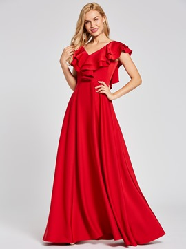 Ericdress Presale V Neck Ruffles Beading A Line Evening Dress