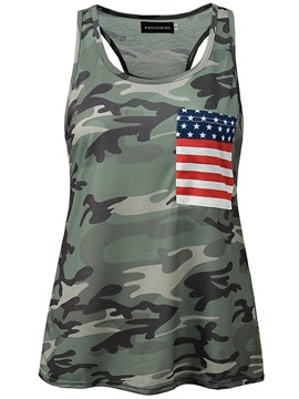 Ericdress Camouflage Star Print Loose Womens Vest