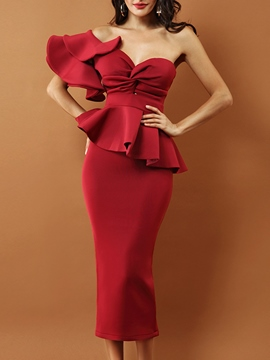 Ericdress Red Double-Layer Ruffle Off-The-Shoulder Bodycon Dress