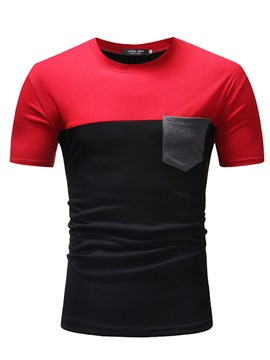 Ericdress Color Block Patchwork Short Sleeve Mens T Shirts