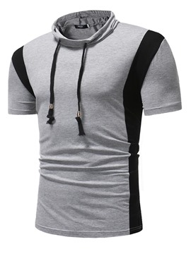 Ericdress Stripe Lace Up Patchwork Mens Slim T Shirts