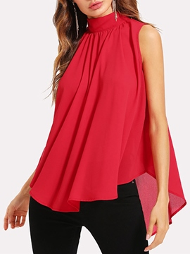 Ericdress Hem Casual Chiffon Sleeveless Womens Top
