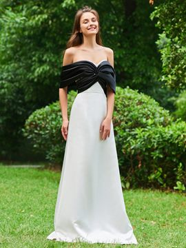 Ericdress A Line Off The Shoulder Black And White Prom Dress