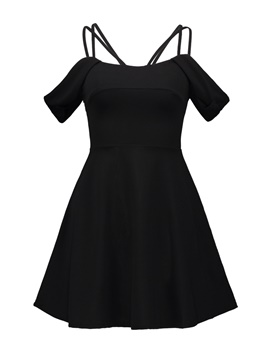 Black Strappy Women's Day Dress