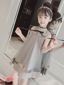 Ericdress Mesh Bowknot Peter Pan Collar Girl's Sleeveless Dress