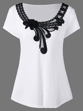 Ericdress Scoop Floral Appliques Short Sleeve Womens T Shirt