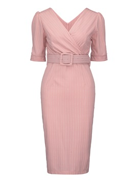 Ericdress Pink V-Neck Stripe Pleated Zipper Belt Sheath Dress