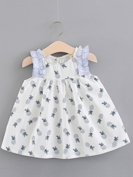 Ericdress Pleated Printed Baby Girl's Scoop Casual Dress