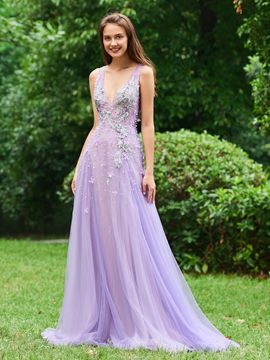 Ericdress A Line V Neck Long Evening Dress With Beadings