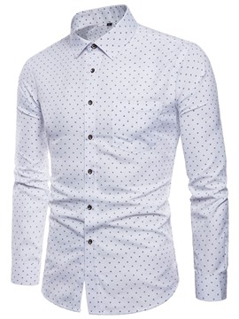 Ericdress Polka Dots Slim Fitted Mens Long Sleeve Casual Dress Shirts
