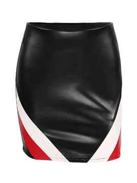 Ericdress Bodycon Color Block Women's Mini Skirt