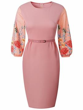 Ericdress Pink Floral Lantern Sleeve Diamond Bodycon Dress