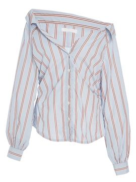 Ericdress Stripe Button-Down Asymmetric Womens Shirt