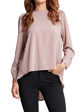 Ericdress Loose Plain Asymmetric Long Sleeve Womens Top