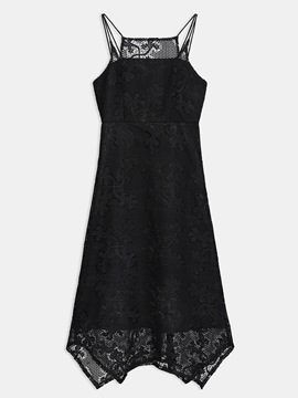 Ericdress Slash Neck Asymmetric See-Through Patchwork A-Line Dress