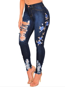 Ericdress Skinny Floral Ripped Women's Jeans