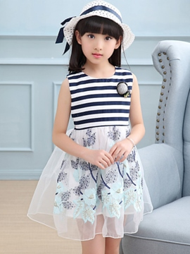 Ericdress Stripe Floral Printed Mesh Embroidery Girl's Casual Dress
