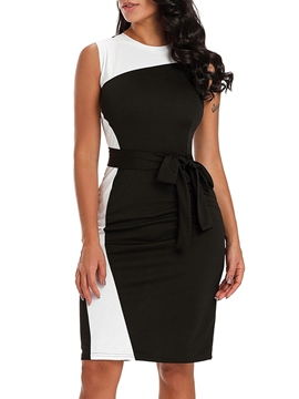 Ericdress Patchwork Belt Bowknot Bodycon Dress