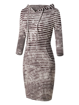 Ericdress Hooded Stripe Tie-Dye Print Bodycon Dress