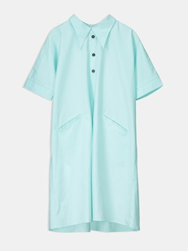 Ericdress Mint Polo Neck Color Block A-Line Dress