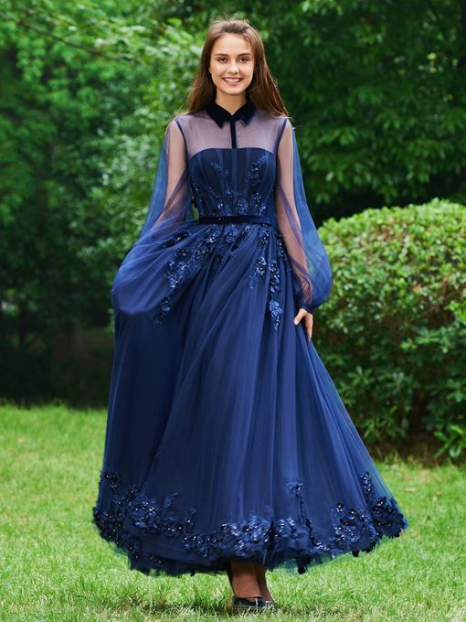 Ericdress A Line High Neck Applique Vintage Prom Dress