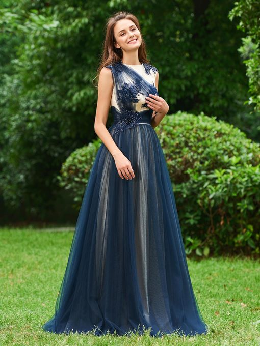 Ericdress A Line Applique Beaded Long Prom Dress