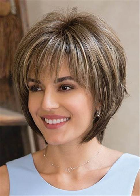 WigsbuyLayered Mixed Color Straight Synthetic Hair With Bangs Capless Wig