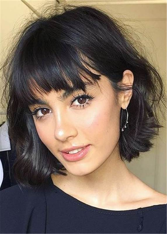 Ericdress Short Bob Hairstyles Straight Human Hair With Bangs Capless Wigs 8 Inches