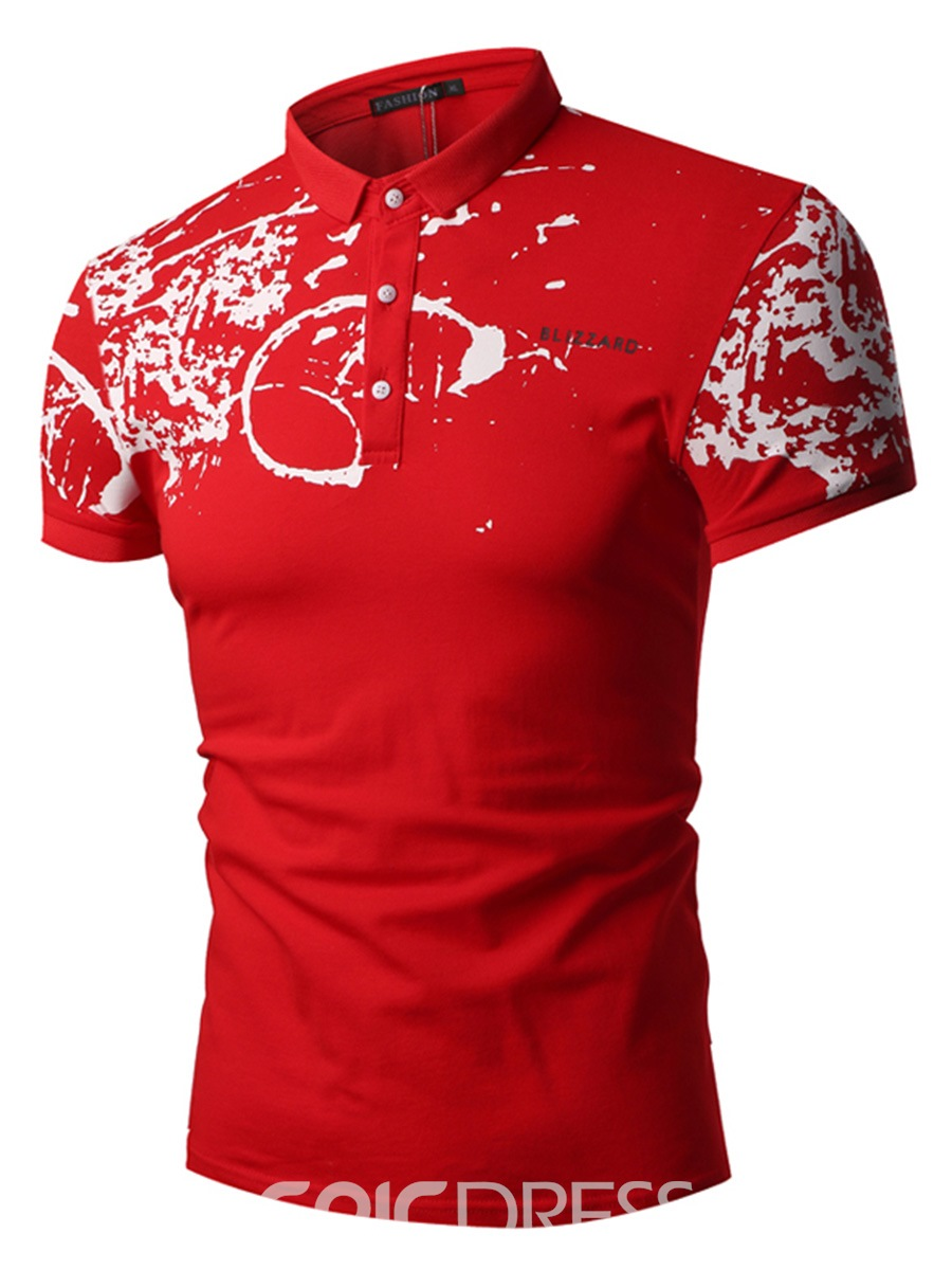 Ericdress Printed Slim Fit Short Sleeve Mens Polo T Shirts