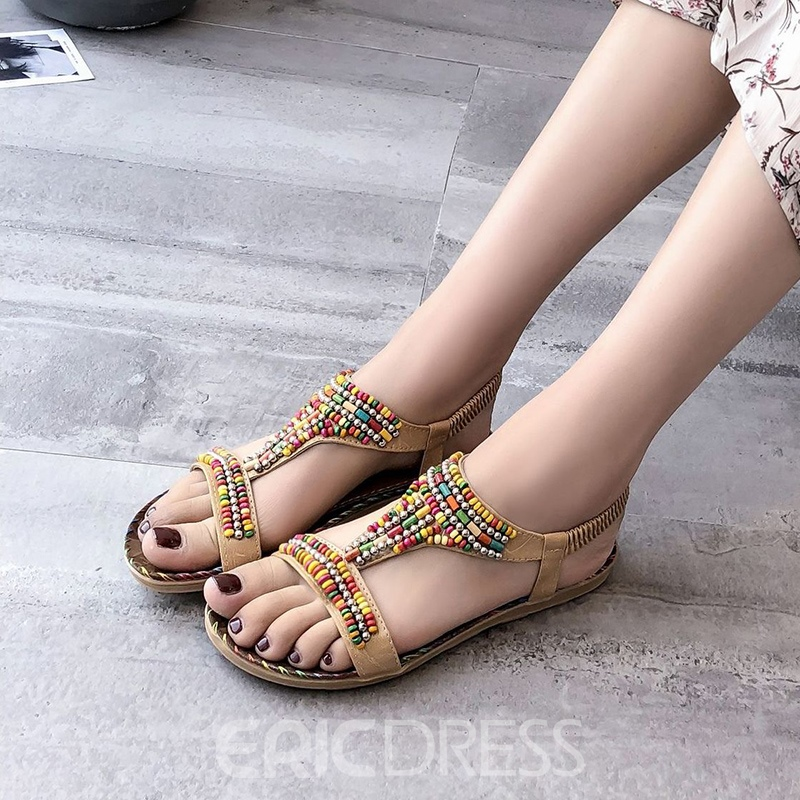 Ericdress Beads Strappy Elastic Band Flat Sandals