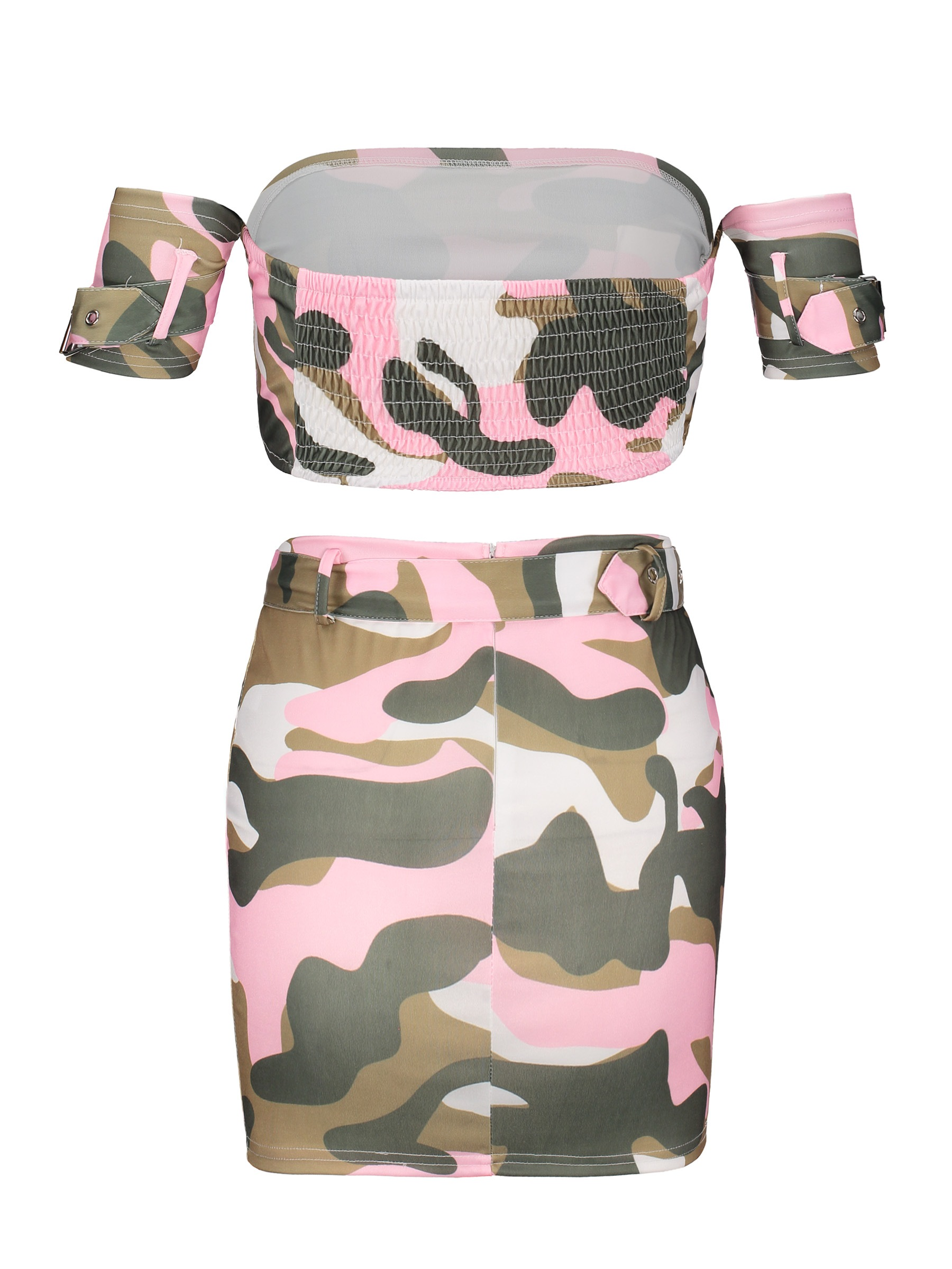 Ericdress Camouflage T-Shirt and Skirt Women's Two Piece Set