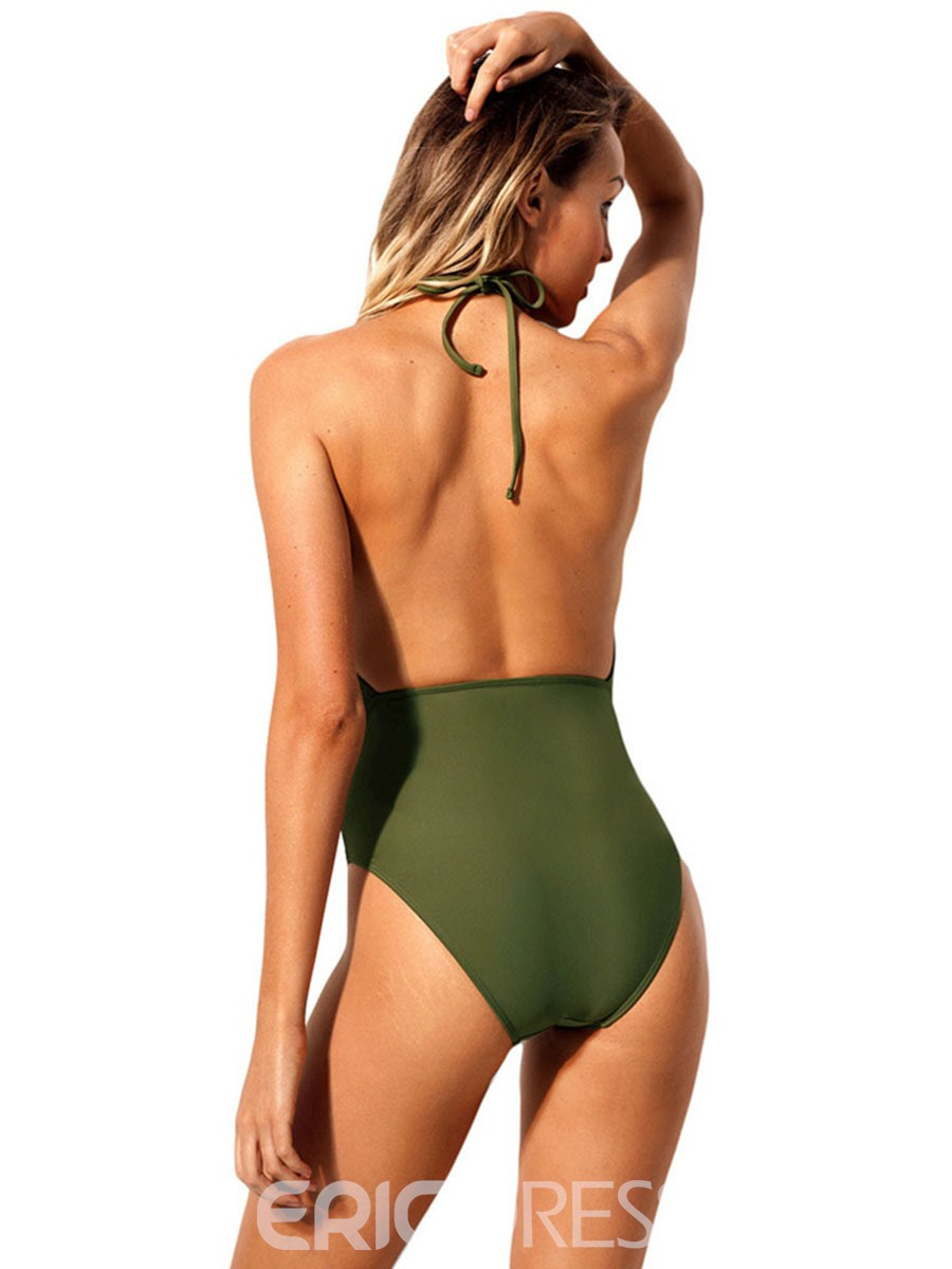 Ericdress Ladylike Plain Hollow Monokini