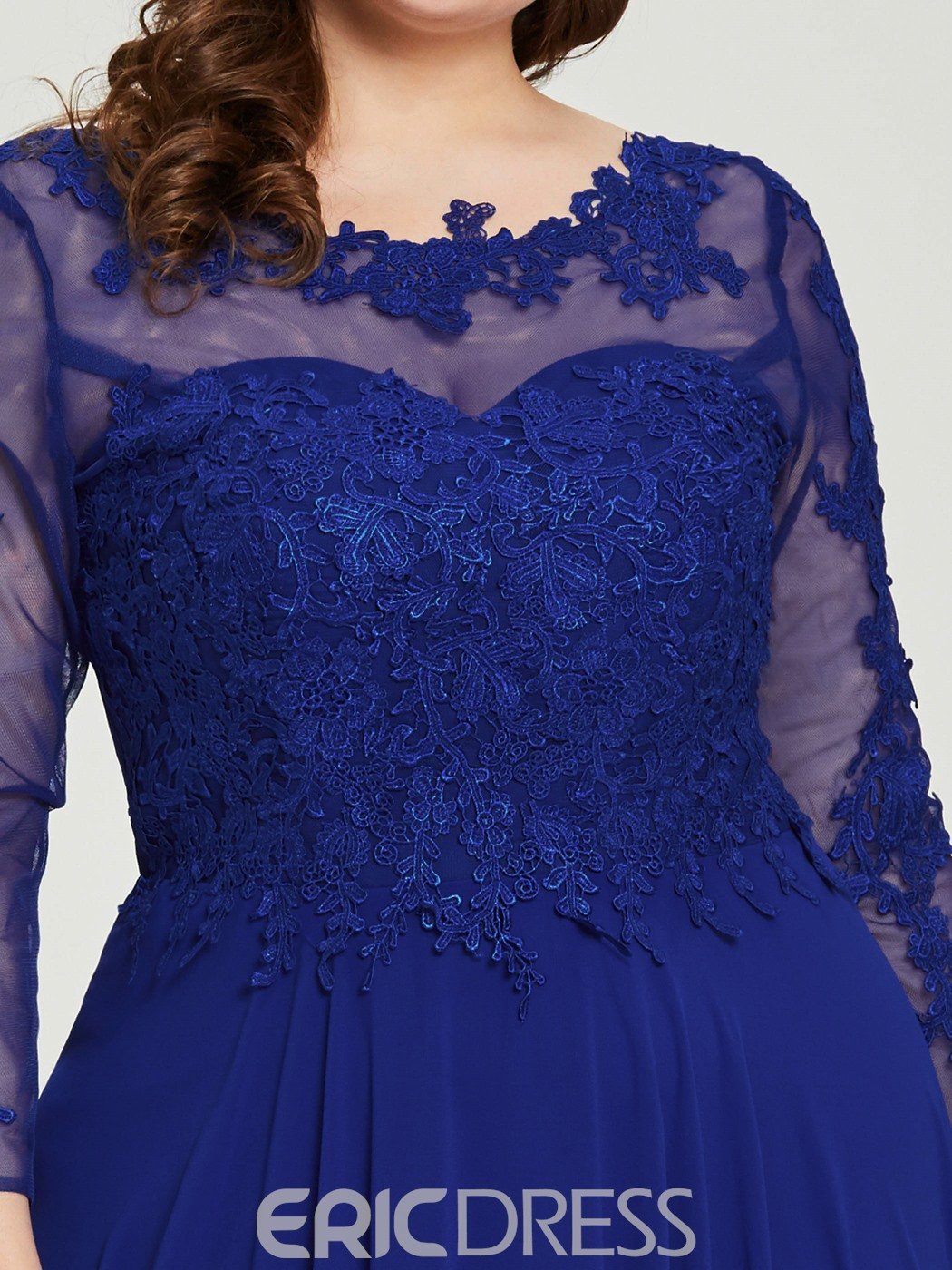 Ericdress Long Sleeves Lace Appliques Plus Size Evening Dress